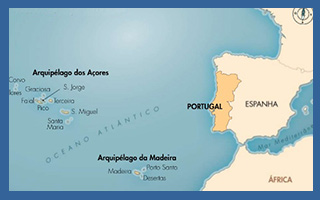 Localização dos Açores e da Madeira